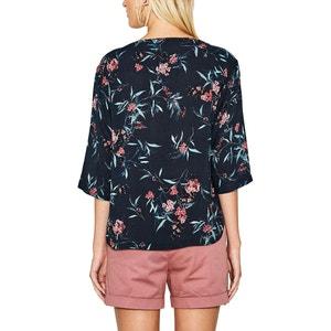 Blusa estampada de flores, con cuello redondo y manga 3/4 ESPRIT