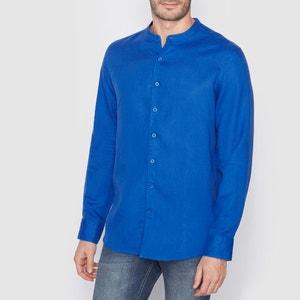 Camisa de manga larga con corte recto 100% lino R essentiel
