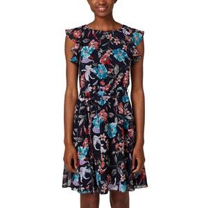 Bedrukte jurk zonder mouwen, volant aan de schouders ESPRIT