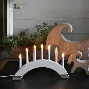 VIKING - Chandelier Bois blanc 7 bougies à ampoules L41,5cm - Lampe à poser Xmas Living Glass designé par XMAS LIVING GLASS