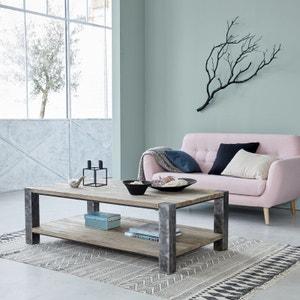 Table basse en bois de pin recyclé et métal 140 cm BOIS DESSUS BOIS DESSOUS