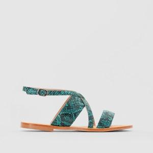 Sandales plates cuir effet python atelier R