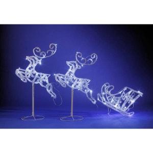 Superbe décoration de Noël 120 LED effet givré - Traineau avec 2 rennes volants en acrylique lumineux ! NONAME