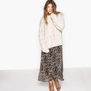 Пуловер из плотного шерстяного трикотажа с рисунком