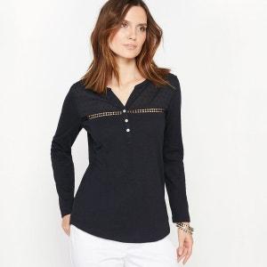 T-shirt col tunisien, pur coton flammé ANNE WEYBURN