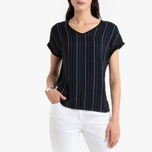 T- shirt met V-hals, twee stoffen