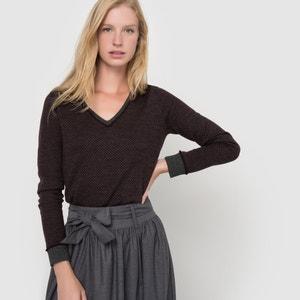 Camisola com decote em V, jacquard em lã de merino atelier R