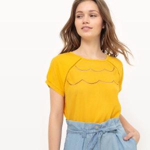 T-shirt uni, détail devant façon fleur MADEMOISELLE R