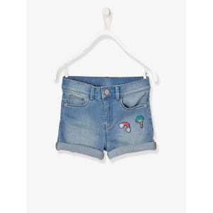Short en jean fille avec badges VERTBAUDET