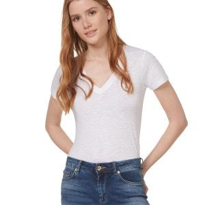 T-shirt en coton flammé col V MONOPRIX