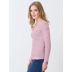 T-shirt femme en jersey coton bio rayures marin, HAYBES SOMEWHERE