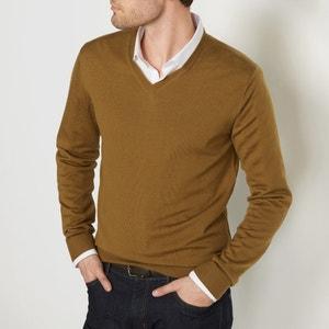 Jersey con cuello de pico, de lana merina La Redoute Collections