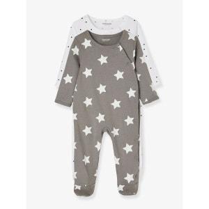 Lot de 2 pyjamas bébé coton pressionné devant VERTBAUDET