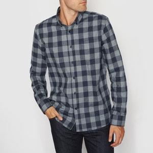 Camisa de manga larga, corte recto de franela R essentiel