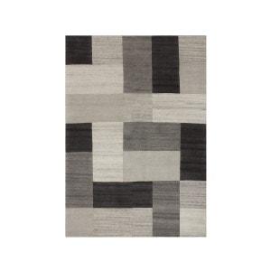 Tapis naturel géométrique en laine gris Goa ALLOTAPIS
