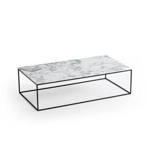 Mesa baja rectangular. de metal negro y mármol Mahaut