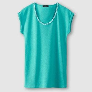 T-shirt uni, détail tressé R essentiel