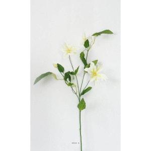 Clematite artificielle en branche H 76 cm 3 fleurs et 1 bouton creme ARTIFICIELLES