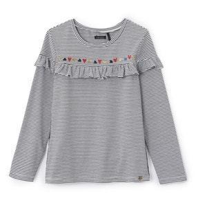 T-shirt met volant en lange mouwen 3 - 14 jaar IKKS JUNIOR