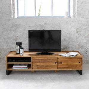 Mueble TV de roble macizo laminado y acero Hiba