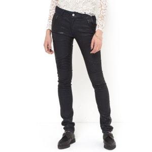 Pantaloni stile motociclista in tessuto spalmato taglio slim SOFT GREY