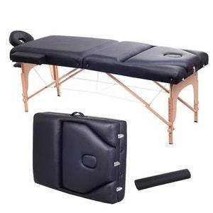 Lit/table de massage cosmétique pliable en bois 3 zones épaisseur 10cm noir - HOMCOM HOMCOM