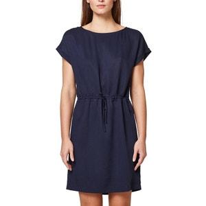 Kurzärmeliges Kleid, runder Ausschnitt, Tunnelzug in der Taille ESPRIT
