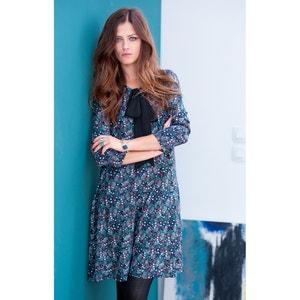 Bedrukte jurk met lavallière SOFT GREY