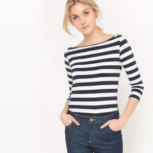 T-shirt rayé coton, manches 3/4 La Redoute Collections