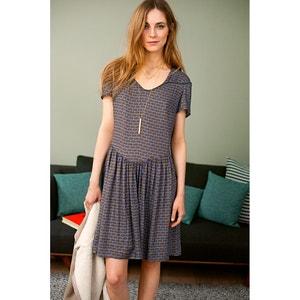 Bedrukte jurk met korte mouwen SOFT GREY