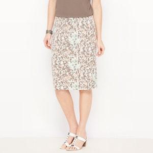Falda recta estampada de punto vaporoso ANNE WEYBURN