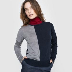 Pullover, Feinstrick, zweifarbig, Merinowolle atelier R