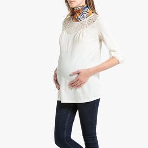 Zwangerschap T-shirt in kant met lange mouwen