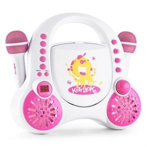 auna Rockpocket-A WH Lecteur karaoké pour enfants CD AUX 2 micros batterie blanc AUNA