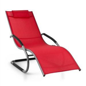 Sunwave Chaise longue transat Relax Aluminium rouge BLUMFELDT