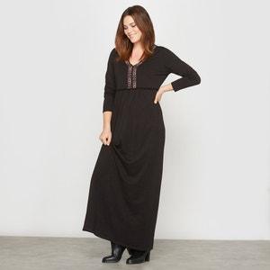 Lange jurk in tricot, plastron met borduursel CASTALUNA