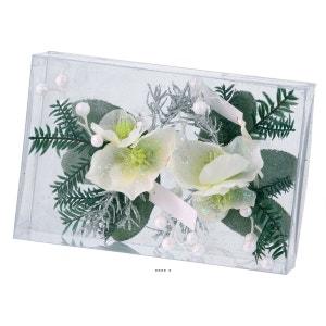 Composition Sapin et fleurs neige de noel 2 pcs par box 16cm artificielle ARTIFICIELLES