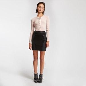 Mini jupe en simili cuir et maille MORGAN