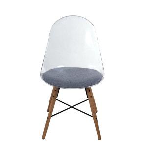 2x Chaise polycarbonate transparent bleu et tissu gris Plexy INWOOD