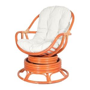 Fauteuil JAVA orange - fauteuil pivotant - fauteuil rotin mandarine ROTIN DESIGN