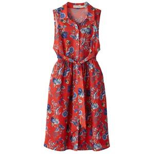 Wijduitlopende halflange jurk zonder mouwen SEE U SOON
