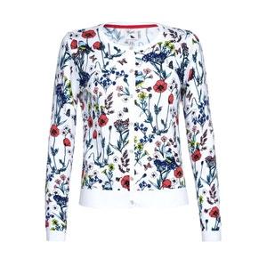 Pure Cotton Crew Neck Flower Print Cardigan YUMI