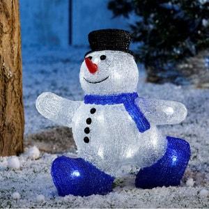Bonhomme de neige bi-colore - Extérieur ou intérieur – Acrylique givré lumineux - Décoration Noël LED TARRINGTON HOUSE