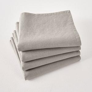 Lot de 4 serviettes de table Victorine, en lin lavé. La Redoute Interieurs