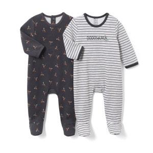 Lot de 2 pyjamas imprimés en molleton 0 mois-3 ans La Redoute Collections