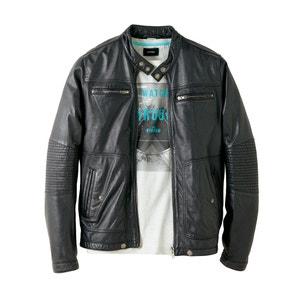Leather Bomber Jacket SOFT GREY