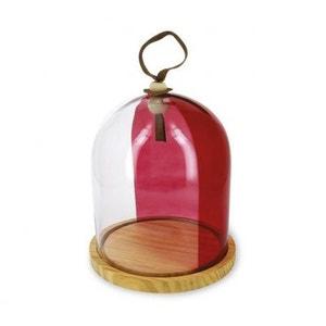 Cloche en verre et son socle bois - H : 24cm  x Diam. : 20cm REVOL