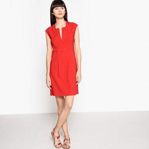 Rozkloszowana sukienka, króki rękaw, ozdobny dekolt La Redoute Collections
