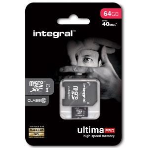 Cartes memoire  MICROSDHC 64 GO CL 10 INTEGRAL