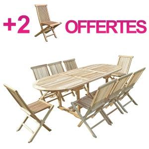 Ensemble salon de jardin en teck MAHUI 8+2 chaises - Bundle chaises C ET L JARDIN